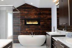 Cozy Master Bathroom With Cedar Plank Accent Wall