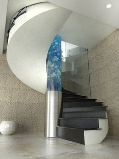 47 The Best Home Stairs Design Ideas With Aquarium - Home-dsgn Spiral Stairs Design, Home Stairs Design, Curved Staircase, Interior Stairs, Modern Staircase, Home Interior, House Design, Spiral Staircases, Interior Design