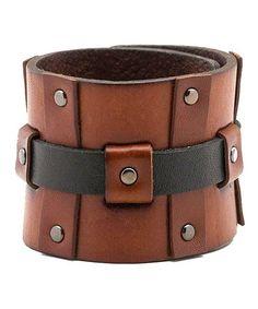 Look at this #zulilyfind! Brown Woven Leather Bracelet by Calvin Klein #zulilyfinds