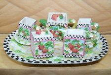 miniture strawberry china | MINI TEA SET STRAWBERRY Design 10pc COLLECTIBLE Decorative Miniature ...