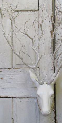 Anita Spero   | Deer sculpture / Twig antlers    |    AnitaSperoDesign    |      https://www.etsy.com/listing/208482956/wall-mounted-deer-with-live-branch?ref=shop_home_active_7