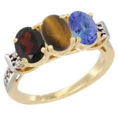 14K Yellow Gold Natural Garnet, Tiger Eye and Tanzanite Ring 3-Stone 7x5 mm Oval Diamond Accent, sizes 5 - 10 -- Additional details at the pin image, click it  : Jewelry Ring Bands