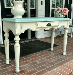 Sofa Table in Annie Sloan Provence and Old White