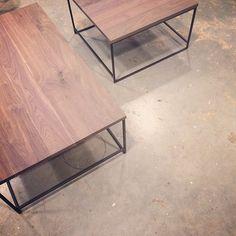 Salontafel Meta, houten werkblad met stalen frame