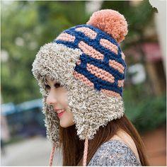 Plaid fleece knit hat for women warm bomber hats for winter wear