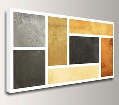 "Geometric Art - Mid Century Modern - Canvas Print - Ochre, Rust, Black, Grey Geometric Art -  ""Network"""