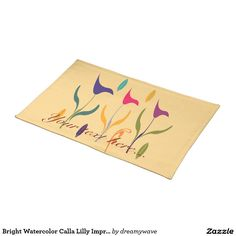 Bright Watercolor Calla Lilly Impression Cloth Placemat