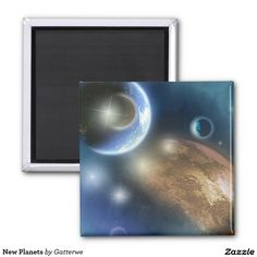 New Planets 2 Inch Square Magnet Photo Magnets, Refrigerator Magnets, Astrology, Planets, Plants