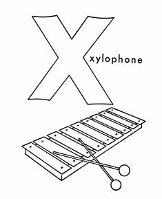 ABC Coloring Sheet Letter X Is For Xylophone