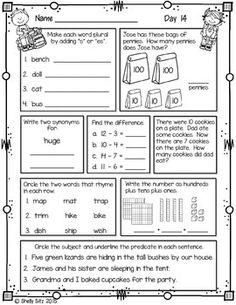 Morning Work for Second Grade (First Quarter) by Shelly Sitz Teaching First Grade, Third Grade Math, Student Teaching, Second Grade, Free Multiplication Worksheets, 3rd Grade Math Worksheets, Math 2, Elementary Bulletin Boards, 2nd Grade Classroom