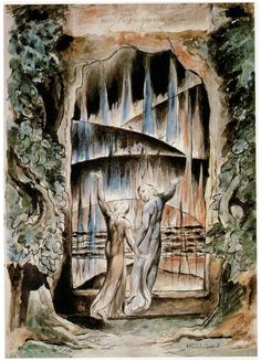 William Blake - The Inscription over the Gate. An illustration to Dante's Divine Comedy: Inferno, Canto III. Dante Alighieri, William Blake Paintings, William Blake Art, Dante Gabriel Rossetti, Gates Of Hell, Popular Paintings, Visionary Art, Illustrations, Ciel