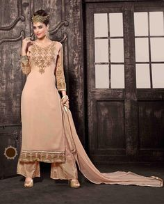 Peach palazzo suit with embellished sleeves   1. Peach poly georgette palazzo suit2. Comes with matching bottom and dupatta3. Can be stitched upto size 42 inches