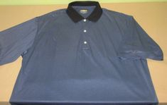 Men's GREG NORMAN PLAY DRY Polo Golf  Shirt Sz XL - Blue Black Stripe #GregNorman #PoloRugby