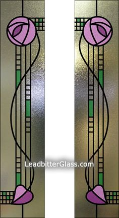 Stained Glass Rennie Mackintosh Rose | leaded coloured using stippolyte glass coloured leaded glass
