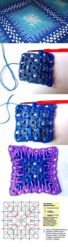 """Granny Square"" in Spanish, description + scheme Crochet Motifs, Crochet Blocks, Crochet Diagram, Crochet Stitches Patterns, Crochet Art, Crochet Squares, Crochet Granny, Crochet Crafts, Crochet Projects"