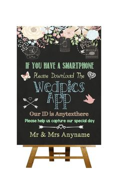 Shabby Chic Pretty Chalkboard Style Wedpics App Photo Personalised Wedding Sign