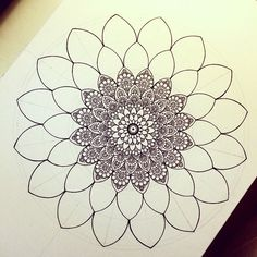 By Gromova Ksenya Mandalas Painting, Mandalas Drawing, Doodle Patterns, Zentangle Patterns, Zentangles, Zen Doodle, Doodle Art, Mandala Tattoo, Mandala Art