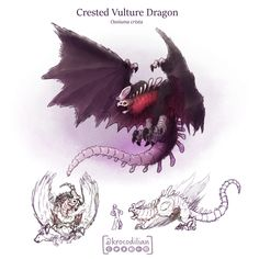 """Although intimidating vulture dragons wont attack unless you mess with there food. They only eat bones and the marrow within. To get to the bones of carcasses they use a """"blood mist"""" breath that dissolves flesh but preserves bone. Monster Hunter Art, Monster Art, Monster Concept Art, Fantasy Monster, Mythical Creatures Art, Mythological Creatures, Creature Concept Art, Creature Design, Desenhos Clash Royale"""