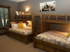 Very creative!  Built-in bunk beds - two twins over two queens with drawer steps.
