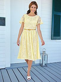 Elegant lace turns this dress into a perfect choice for dressy occasions ~ Lace Dress With Metallic Belt from Bedford Fair