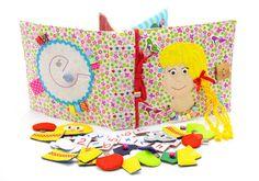 Ce livre est idée de lauteur. Livre active faite de tissu est recommandé pour les enfants de 2 ans. Il se compose de 4 feuilles. Sur chacune des 6 pages il y a différents types de fermoirs : -Velcro -Boutons -Boutons -Lacets -Fermeture à glissière -Pins -Fil La couverture rigide de la livre actif contient également des éléments en développement sur Velcro, mini labyrinthe avec une coccinelle, boutons et rubans. Vous pouvez entrer dans nimporte quel titre du livre. Livre en développement…