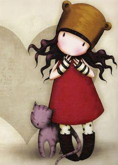 Pacento 2017 England Girls Gorjuss Art Pattern Cartoon School Bag School Backpack Bags for Girls Shoulder Backpack Children Cute Cute Images, Cute Pictures, Art Fantaisiste, Art Mignon, Santoro London, Copics, Whimsical Art, Cute Illustration, Cat Art