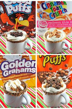 Hot Chocolate for the cereal lover ~ You use melted chocolate chips or any melted chocolate to rim the mugs with your favorite crushed cereal. Then add hot chocolate & top with a little more cereal & yummy goodness! ~ Mmmm! ~
