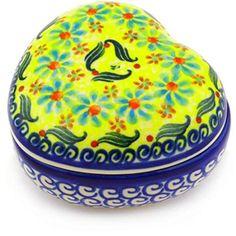 Ceramika Bona H2156G Polish Pottery Ceramic Heart Shaped Jar Hand Painted 4Inch * For more information, visit image link. (This is an affiliate link) #BakeandServeSets