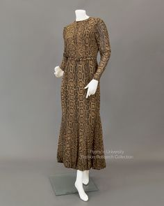 Reptile pint silk evening dress with bubble hem, c.1970s. GIVENCHY, Made in PARIS. Numbered Couture 527. FRC1989.01.001A+B