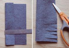 Fringed flower: Fold over over a sheet of felt lengthwise. Then cut the unfold. Với hoa kiểu fringed thì bạn xếp mảnh vải lại 2 phần không bằng nhau, và cắt phần dư ra thành hình chiếc lược