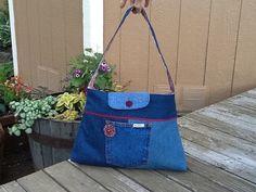 3 pocket medium sized denim purse by Sassyclassyaprons on Etsy, $34.95