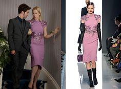 Gossip Girl series finale: Lily's (Kelly Rutherford) lilac purple sheath dress by Bottega Veneta #getthelook #gossipgirl