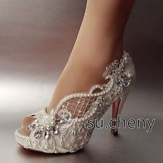 "3"" 4"" heel crystal white ivory silk lace open toe Wedding shoes Bride size 5-11"