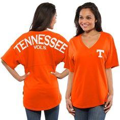 Tennessee Volunteers Women's Short Sleeve Spirit Jersey V-Neck Top - Tenn Orange