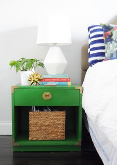 Green and gold bedside table. Remove a drawer and replace it with a basket for a more interesting way to store your things!