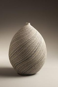 Matsui Kôsei (1927-2003) Ovoid vase striped with blue, gray and white marbleized colored clay, ca.1977 Stoneware with marbleized colored inlay 11 1/4 x 8 1/2 inches Inv# 6556