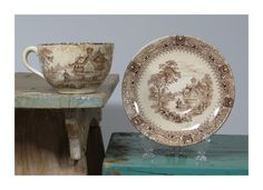 Antique Clementson Bros Tillenberg Brown Transferware Cup and Saucer • 19th Century Hot Chocolate Cup • Circa 1870 • Hanley Staffordshire by 13thStreetEmporium on Etsy
