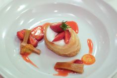 Strawberry and rhubharb millefoglie at Chez Panisse.