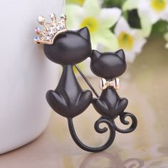 Mother & Daughter Cats Brooch