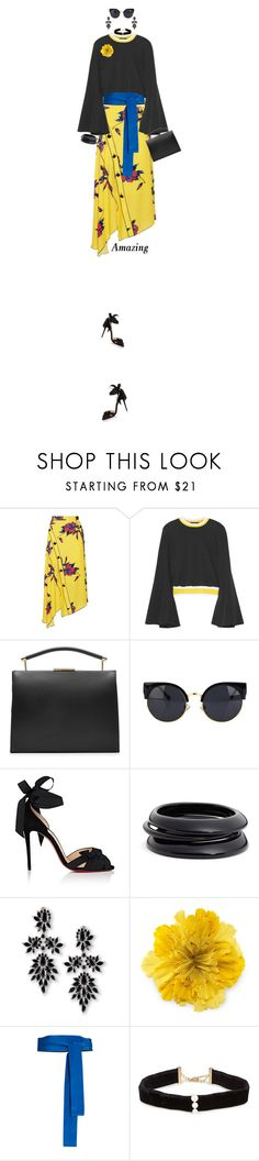 """Floral print Wrap Skirt"" by prettynposh2 ❤ liked on Polyvore featuring Proenza Schouler, E L L E R Y, Marni, Christian Louboutin, ZENZii, Fallon, Gucci, Diane Von Furstenberg, Anissa Kermiche and floralprint"