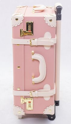 Pink leather luggage