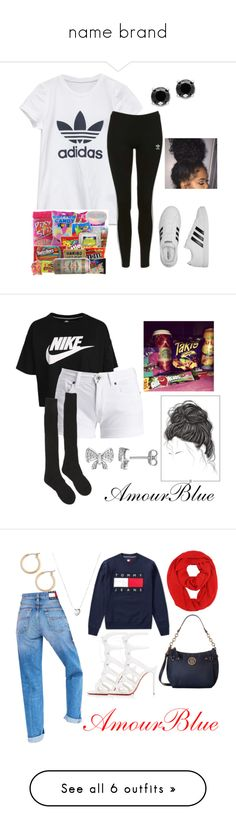 """name brand"" by amourblue ❤ liked on Polyvore featuring adidas, Topshop, Effy Jewelry, NIKE, Barbour International, Junk Food Clothing, Samantha Holmes, Laura Ashley, Tommy Hilfiger and Christian Louboutin"