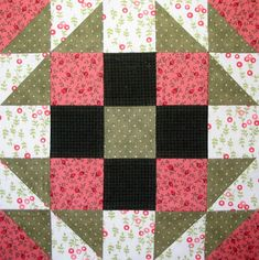 Bookworm quilt block, designed by Judy Martin for Judy Martin's Ultimate Book of Quilt Block Patterns, 1988.