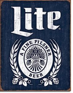 Miller Lite Bottle Logo Tin Sign