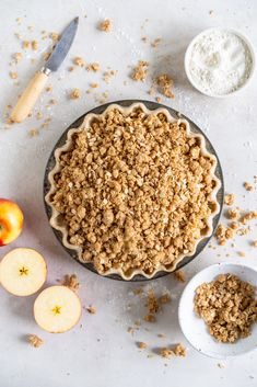 Apple Crumble Pie with Rye Crust. I started with a rye crust, and filled it with thinly sliced apples, then topped it with an oaty crumble. The apples bake down, and the topping gets toasty Apple Crumble Pie, Apple Filling, Crumble Topping, Apple Pie, Healthy Recipes, Almond Recipes, Pie Recipes, Savoury Recipes, Delicious Recipes