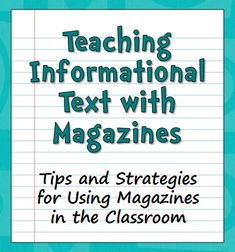 If you enjoy reading magazines yourself, the solution to that problem is right in front of you! As it turns out, children's magazines are a great source of informational texts. The articles are short, interesting, and appropriate for children. They often use a variety of different text structures and text features so they make excellent practice passages for working with nonfiction. In fact, many reading selections on state tests are very close in structure and format to magazine articles…