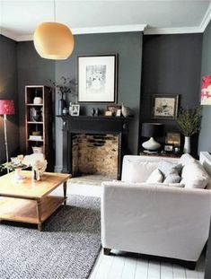 64 Idea Decorating A Narrow Living Room Layout With A Fireplace And Tv 26 64 Idea Decorating A Narrow Living Room Layout With A Fireplace And Tv 26 Ho… Living Room ideas Dark Living Rooms, Narrow Living Room, Living Room Colors, My Living Room, Home And Living, Living Room Designs, Modern Living, Small Living, Grey Living Room With Color