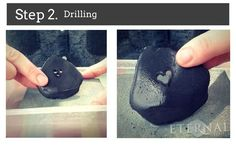 How to carve hearts in pebbles, stone and sea glass. Step 2. Drilling