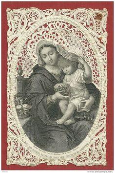 Image Pieuse Dentelle Lithographiée XIXe - Ste VIERGE MARIE, ENFANT JESUS - Msr PETITJEAN- Edition DOPTER à PARIS PL/221 - Imágenes Religiosas