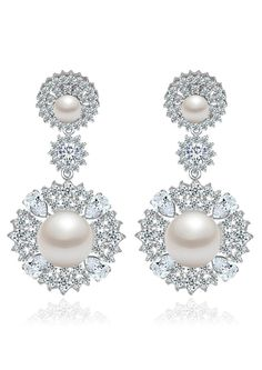 *Free shipping worldwide* These gorgeous drop earrings are set with white synthetic pearls haloed by cubic zirconia to form shimmering clusters. A vintage-inspired design crafted in high polished silver tone metal. | bridal earrings | wedding earrings | bridesmaid earrings | prom earrings | occasion earrings | silver earrings | bridal jewelry | wedding jewelry | prom jewelry | bridal jewellery | wedding jewellery | cubic zirconia earrings | cubic zirconia jewelry | pearl earrings | pea..